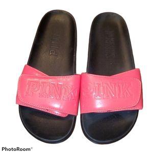 Pink VS pink Velcro Slides